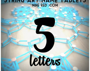 Modern String Art Wooden Name Tablet - 5 letters