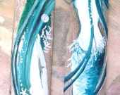 Pair of Fantasy Mermaids  Hand Painted on Driftwood Bamboo- Beach Decor- Coastal Decor