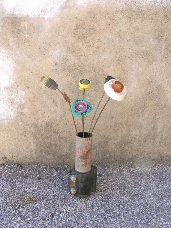RESERVED LISTING. Distressed Metal Flower Vase, Industrial Vessel, Home Accent Piece, Upcycled Vase, Bachelor Decor