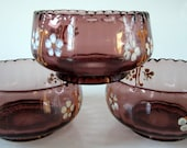 Cranberry Amethyst Berry Bowl Enamel Flowers Rare Scalloped Raised Ribbed Victorian 3