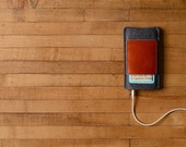 iPhone Case - Charcoal Felt and Brown Leather Pocket