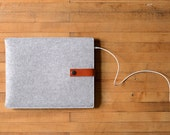 "iPad Pro Sleeve - Grey Wool Felt with Brown Leather for 9.7"" iPad, 10.5"" iPad Pro, 12.9"" iPad Pro or iPad Air, Made in the USA"