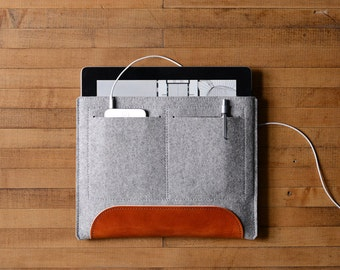 iPad Air Carryall - Grey Felt and Brown Leather Patch, Pocket