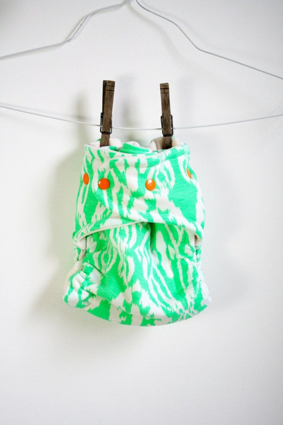 fitted cloth diaper - green ikat cloth nappy - MCN - one size OSFM cloth diaper - bright orange snaps