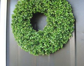 Artificial Boxwood Spring Wreath, Summer Wreath, Large 20 inch Natural Green Boxwood Wreath, Door Wreath