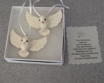 One set of Two  Turtle Doves  Ornaments  for BFF, Valentines day or Christmas