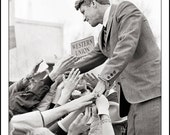 Robert F. Kennedy, CROWD GATHERING, Clyde Keller Photo, featured on the Huffington Post, 16x20 inch Fine Art Print, Black and White, Signed