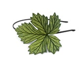 Grape Leaf Headband- Shimmery Peridot Green with Sage and Hunter Green Embroidery