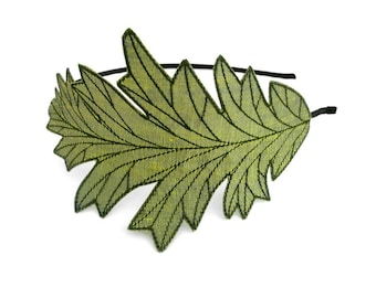 Oak Leaf Headband- Peridot Green with Dark Sage Embroidery
