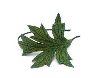Acanthus Leaf Headband- Sap Green with Teal, Dark Teal-Green, and Dark Teal-Blue Embroidery