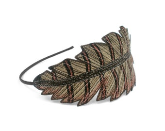 Pheasant Feather Headband- Bronze with Black and Sienna Markings- A Unique Embroidered Headband