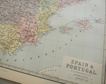 1878 Map Spain and Portugal - Vintage Antique Map Great for Framing 100 Years Old