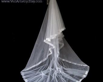 Long Wedding Veil, Radiance Veil, 2 Tier Veil, Cathedral Veil, Sheer Organza Ribbon Veil, Made-to-Order Veil, Handmade Veil