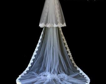 Wedding Veil, Classic Veil, 2-Tier Bridal Veil, Chapel Veil, Alencon Lace Veil, Lace Veil, Made-to-Order Veil, Bespoke Veil