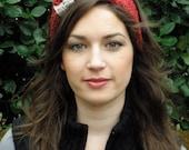Valentine's Ruby Red Headband/Earwarmer with Heart