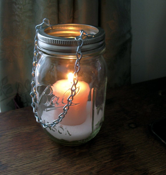 Hanging mason jar luminary diy tea light lids set of 2 by for Hanging lights made from mason jars