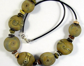 Fossil Swirl Lentil Glass Bead Necklace SRA