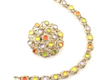 Vintage Sarah Coventry Moon Lites - Matching Bracelet & Pin Set -  Glowing Rainbow Jewel Brooch  - Hey Viv