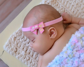 Sequin Bow Baby Headband 2 inches Pick Your Favorite Color Pink Blue Red black white and More