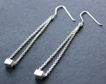 Square drop earrings. Sterling Silver. Handmade. Contemporary design.