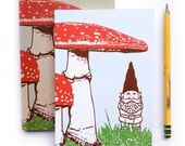 Small Journal, Blank Notebook, Artist Sketchbook, Gnome Journal, small blank sketch pocket book, Woodland garden gnomes gift, recycled paper