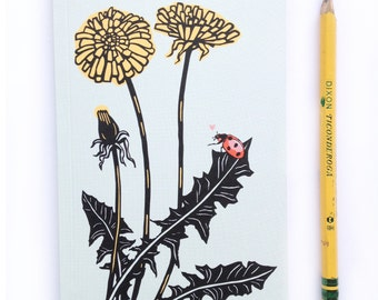 1 Small Mini Dandelion Journal, small blank sketch pocket book, ladybug love garden, original design, all recycled paper