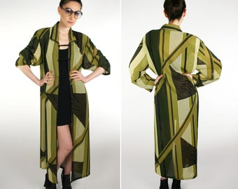 Vintage 1970's Abstract Geometric Long Jacket Green/Brown/Gold Festival Boho Oversize S M L XL