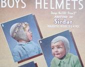 Vintage 40s Knitting Pattern Boys Hats Helmets 40s original colour pattern Sirdar 1301 UK - retro children's knits-  WW2 wartime style