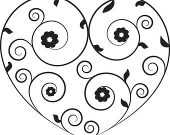 Scroll & Flower Heart Valentine's Day Wedding Favors - Traditional Wooden Handle Rubber Stamp