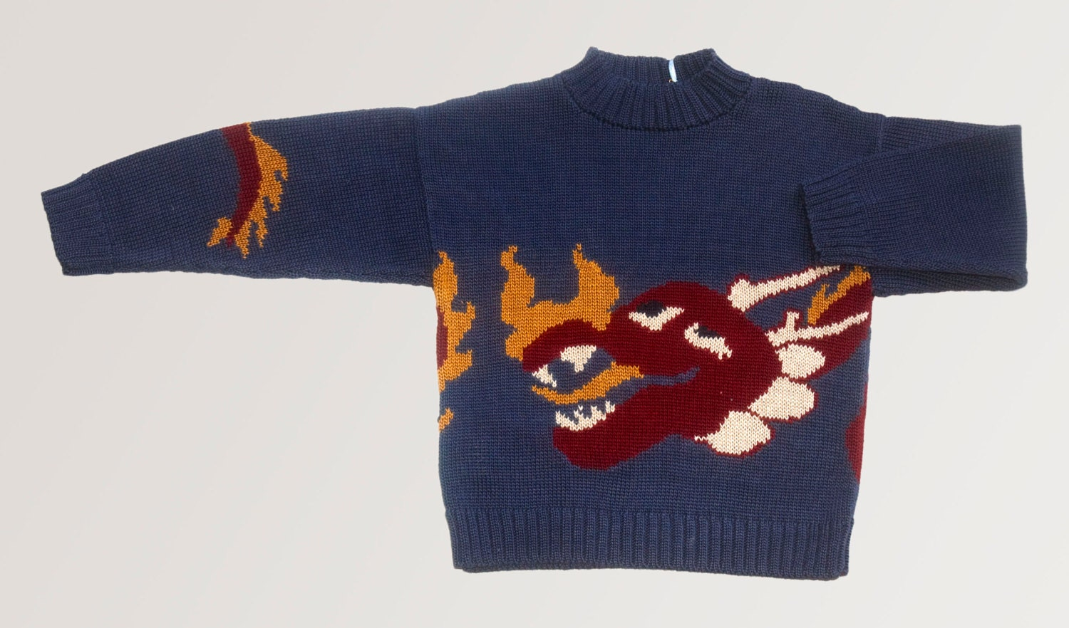 Dragon sweater blue knit sweater toddler boys Blue and red