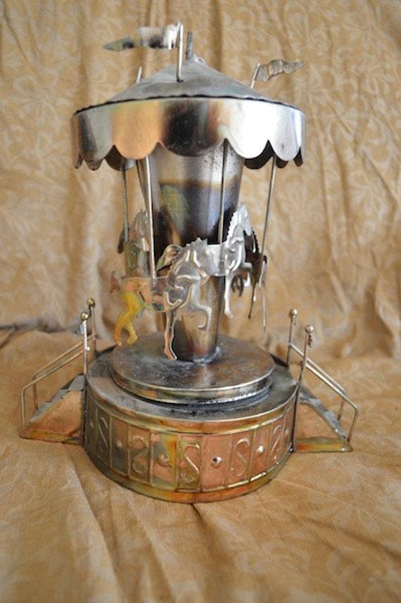 Carosel Music Box Cut Tin Copper Carousel Merry By Troppobella