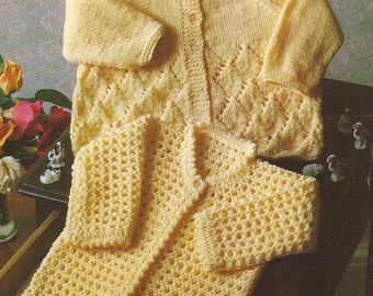 """PDF Knitting Pattern Baby Matinee Coats x 2 to fit sizes 16-18"""" (N38)"""