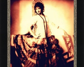 Girl in Spanish Costume circa 1920 - Giclee Artist's Print - Spanish Dancer - Dance Studio Art - Dance Poster