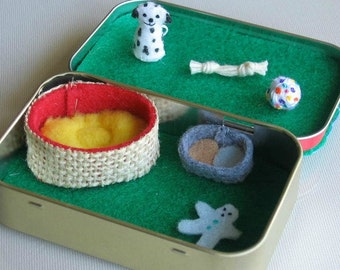 Dalmatian dog miniature plush play set in Altoid tin with dog bed - food bowl - and toys