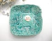 Full Moon Ceramic Bowl - Handmade Pottery Rustic Boho - Lace Bowl