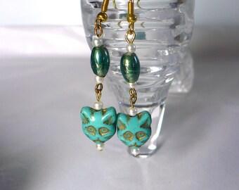 "Karina's Turquoise Colored Czech Pressed Glass Bead 2&1/4"" Kitty Kat Cat Dangle Earrings"