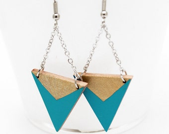 Geometric triangle wooden earrings - turquoise blue, gold - minimalist, modern jewelry