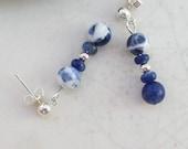 Goddess Minerva Sodalite Earrings - Silver - Hypoallergenic, Nickel Free Posts - Handmade OOAK - Free US Shipping