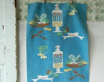 MId Century Martex Kitchen Towel | Stylized Food Prep | Chef Illustrations | Salad Bowl Olive Jar | Vintage Linens