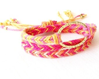Gold Hemp Bracelet - Braided - Hemp, Brass - Pink, Orange, Yellow, Gold - The Bohemian: Horizon Triple Wrap