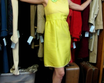 1960s Mod Lemon Yellow Sleeveless Dress