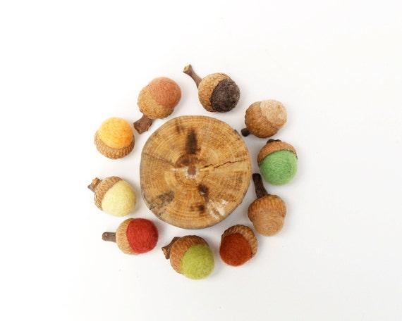 Rustic Woodland Fall, Needle Felted Acorns,  Autumn Decorating, Natural - 10