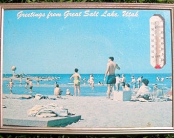 Vintage Souvenir Advertising Thermometer Picture Salt Lake City Utah 1960s