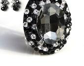 Black Diamond Swarovski Crystal Adjustable Cocktail Statement Ring and Earrings