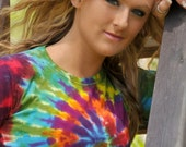 Rainbow Spiral Tie Dye T-Shirt (Made By Hippies Tie Dye In Stock  in Sizes Small to 4XL) (Fruit of the Loom)