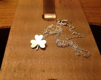 Shamrock Necklace, St Patrick's Day Necklace In Sterling Silver, Handmade In England