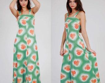 SALE Vintage 70s Maxi Dress GREEN & Orange FLORAL Print Sleeveless Hippie Dress Retro Sun Dress Small