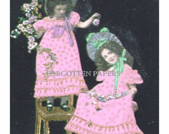 Girly Victorian Girls in FRILLY Dresses and Bonnets - Pastel and Gilded Vintage Real PHOTO Postcard