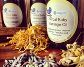 Herbal Baby Oil // Bath, Body, Massage // Infused with Organic Lavender, Calendula and Chamomile