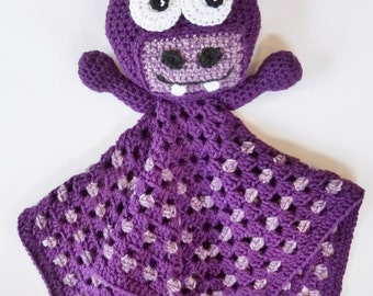 Crochet pattern Baby Blanket Buddy Bobble Head Hippo Boy Girl child INSTANT pdf DOWNLOAD BONUS Frog Hat pattern